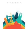 travel europe 3d paper cut world landmarks vector image vector image