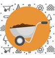 wheelbarrow with under construction equipment vector image vector image