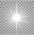 White glowing light burst on transparent vector image vector image