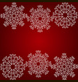 white snowflakes on a red background christmas vector image vector image