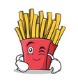 wink face french fries cartoon character vector image vector image
