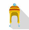 winter hat icon flat style vector image vector image