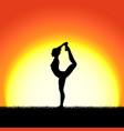 yoga dhanurasana pose black silhouette on sunset vector image vector image