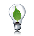 Eco light bulb with green leaf vector image