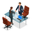 businesspeople handshaking after negotiation or vector image