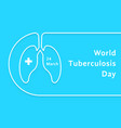 linear world tuberculosis day card vector image