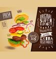 3d hamburger horizontal poster vector image vector image