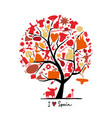 art tree with spain symbols for your design vector image vector image