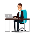 businessman working in computer vector image vector image