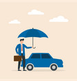 car insurance concept umbrella that protects vector image
