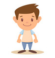 cartoon funny little boy isolated on white vector image