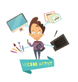 Cartoon Of Artist Profession vector image vector image