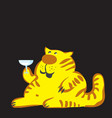 cat with a glass of wine vector image