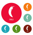 chilli pepper icons circle set vector image
