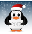 Christmas background with penguin vector image