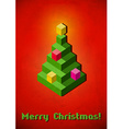 Christmas tree vintage card made of 3D pixels vector image vector image