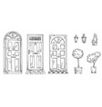 collection british traditional doors vector image vector image