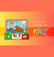 concept travel or studying italian vector image