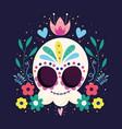 day dead catrina skull flowers frame vector image vector image