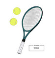 drawing tennis set vector image vector image