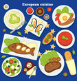 european cuisine dishes and meals desserts food of vector image vector image
