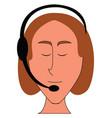 female operatior with headphones simple on white vector image