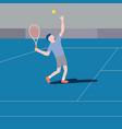 flat design tennis player serving vector image