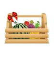 fruits in wooden basket vector image vector image