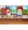 Girl and boy using computer in the pub vector image