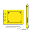graphic tablet and and stylus icon vector image vector image