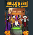 halloween pumpkins witch dracula and wizard vector image vector image