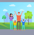 happy family spend time together mother father vector image vector image