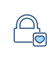happy lock love security icon vector image vector image
