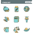 Icons line set premium quality of fitness diet vector image vector image