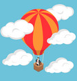 isometric businessman standing on hot air balloon vector image vector image