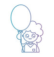 line girl with hairstyle and balloon design vector image vector image