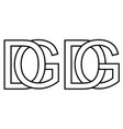 logo gd dg icon sign two interlaced letters g d vector image vector image
