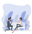 man proposing to a woman sitting bench nature vector image vector image