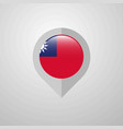 map navigation pointer with taiwan flag design vector image