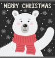 Merry christmas greeting card with a cute bear