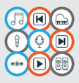 music icons set with music microphone fast vector image vector image