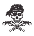 pirate skull in bandana and two crossed pistols vector image vector image