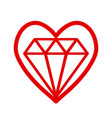 red heart symbol with bright cristal diamond vector image vector image