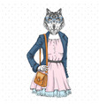 retro hipster fashion animal wolf woman model