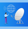 satellite and globe icon user woman digital set vector image