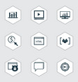 set of 9 advertising icons includes market