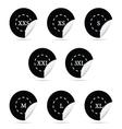 size clothing black sticker set vector image