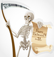 Skeleton with a scythe displays a poster vector image vector image