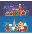 Snow City and Winter Festival Banners vector image