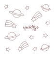 space objects hand drawn sketch universe on white vector image vector image